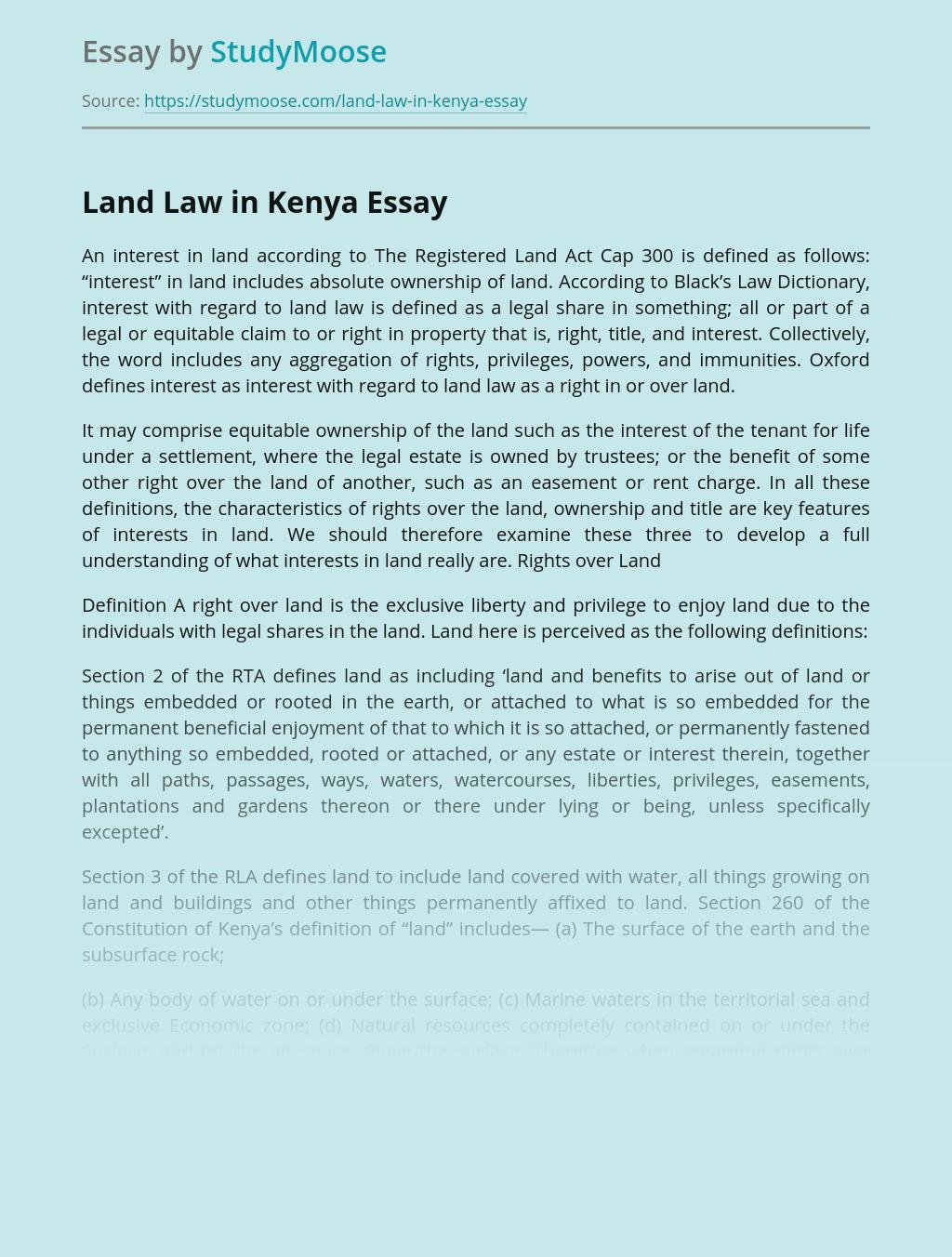 Land Law in Kenya