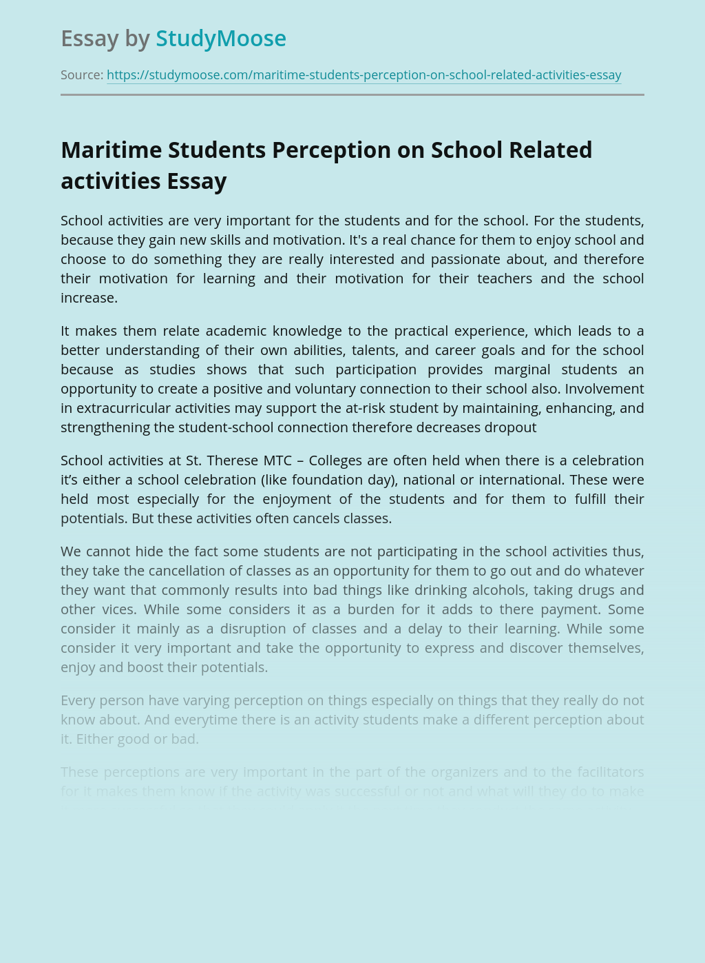Maritime Students Perception on School Related activities
