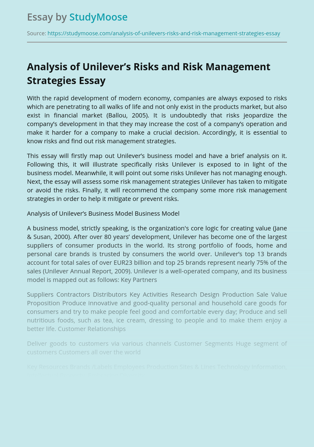 Analysis of Unilever's Risks and Risk Management Strategies
