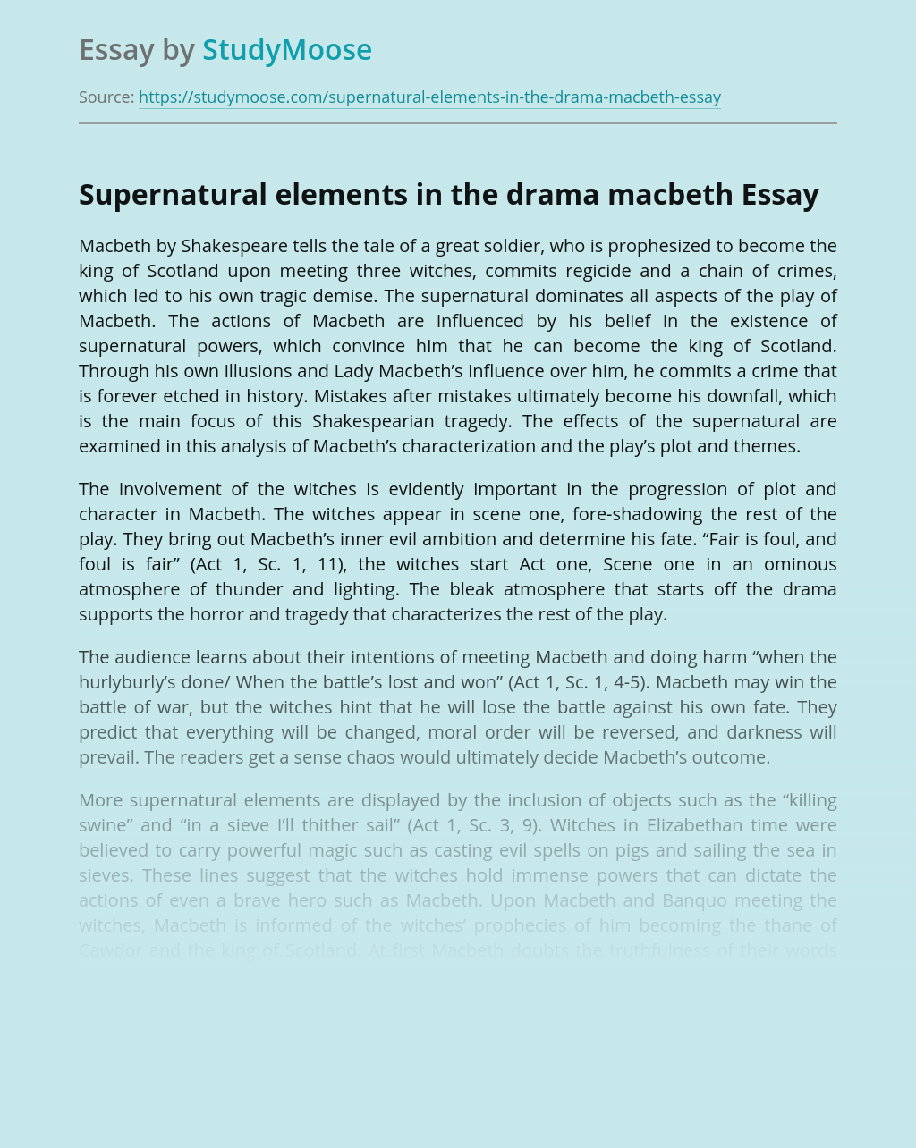Supernatural elements in the drama macbeth