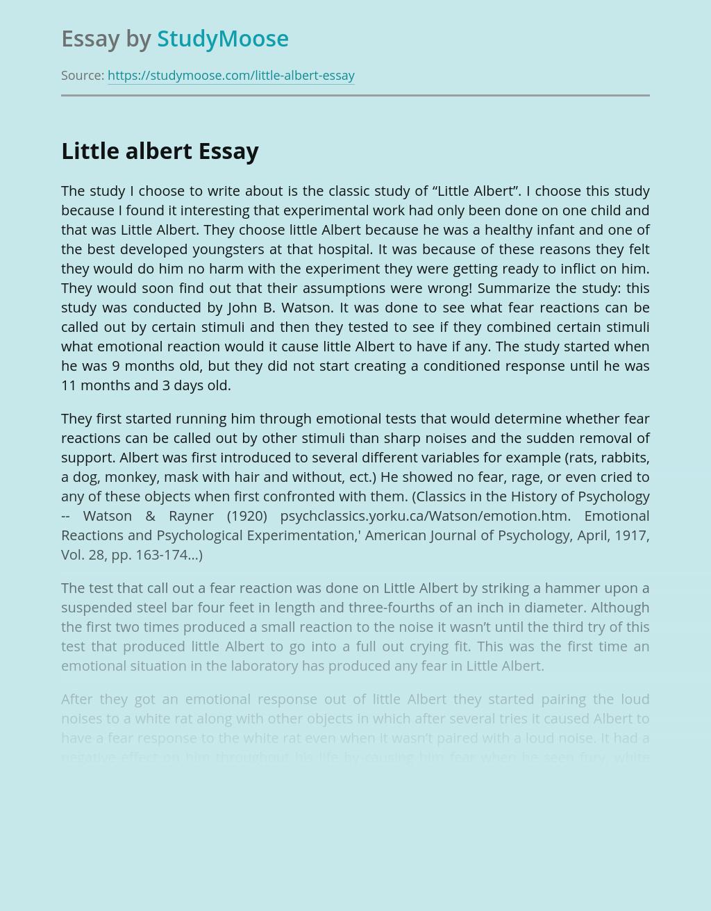 Classic Study of Little Albert Research