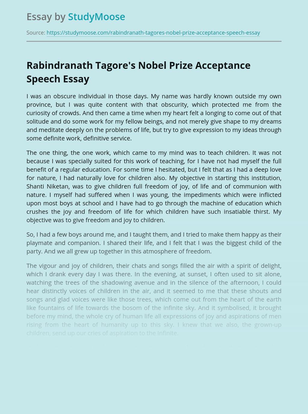 Rabindranath Tagore's Speech on Nobel Prize Distribution Ceremony