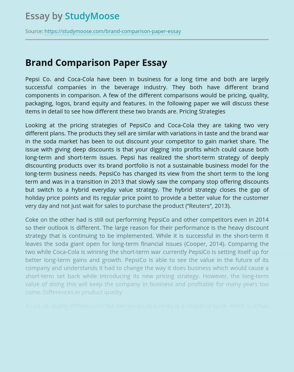 Brand Comparison Paper