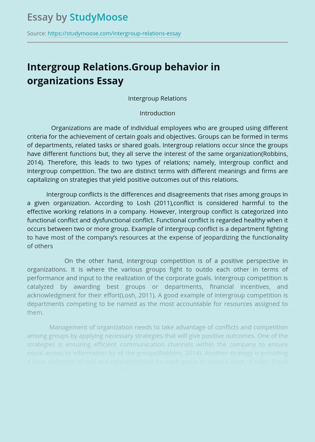Intergroup Relations.Group behavior in organizations