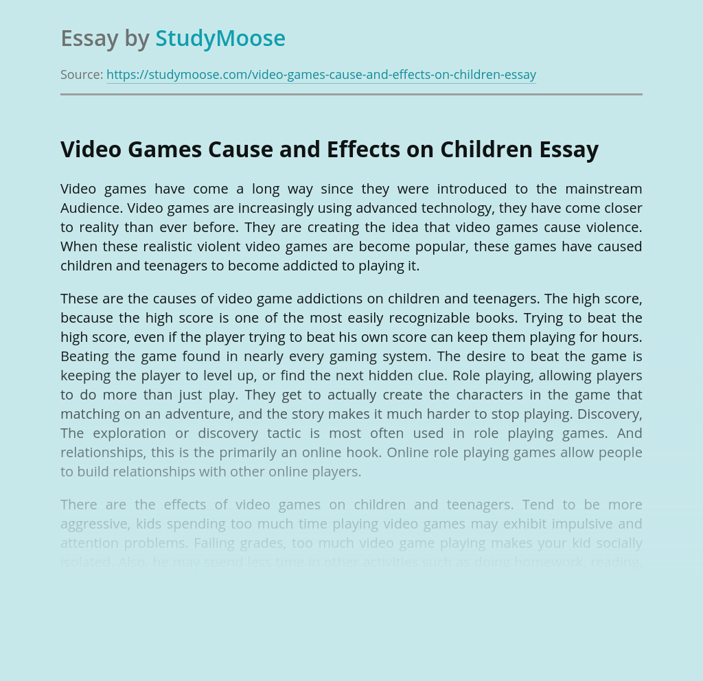 Video Games Cause and Effects on Children