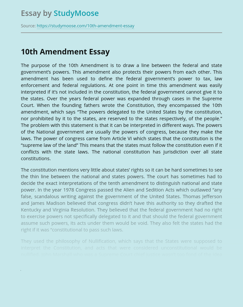 The Aim of the 10th Amendment