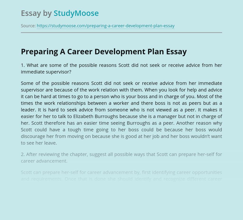 Preparing A Career Development Plan