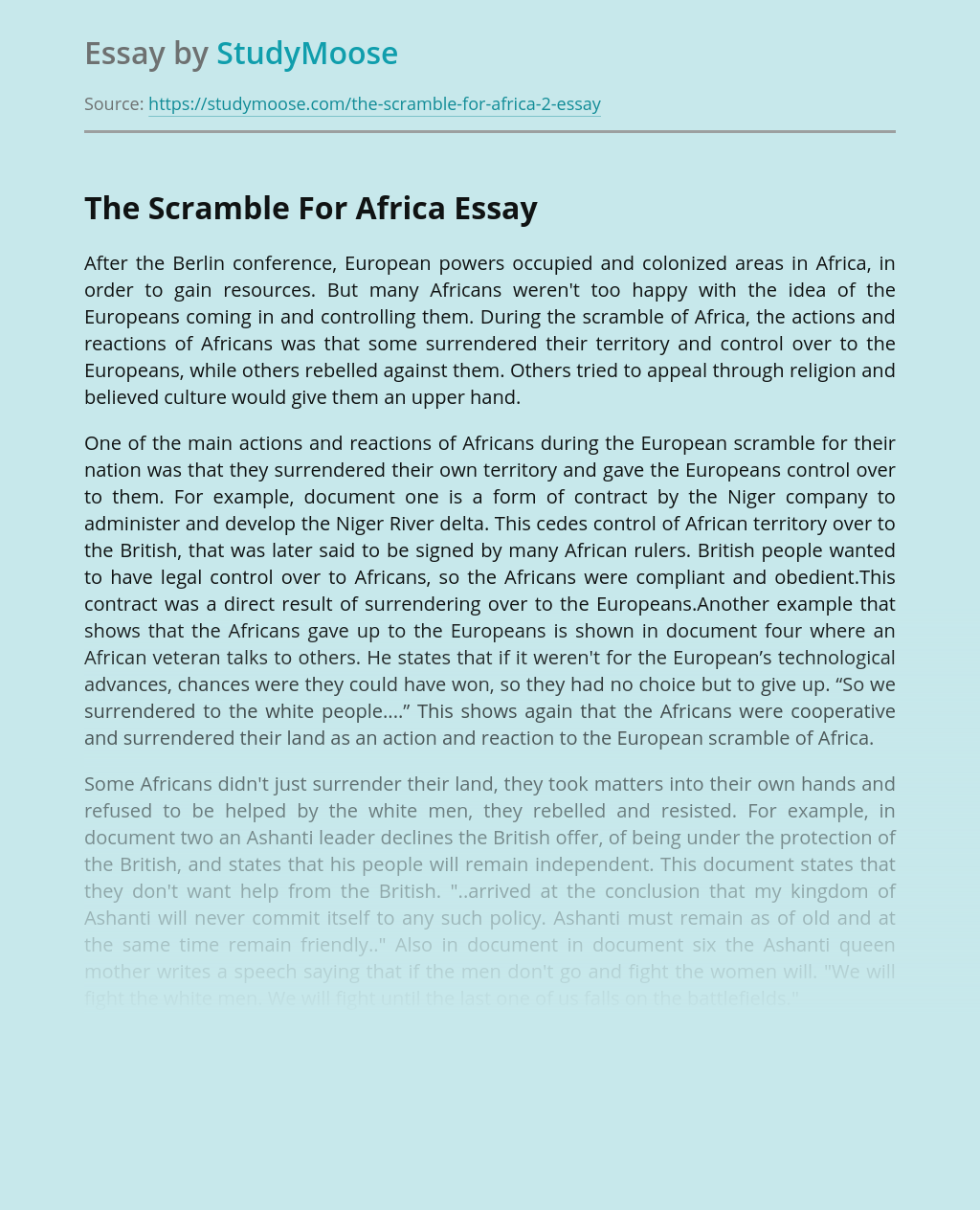Colonization During The Scramble For Africa
