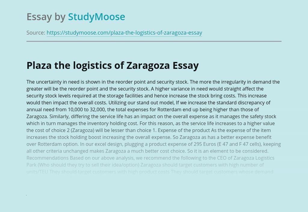 Plaza the Logistics of Zaragoza Company Review