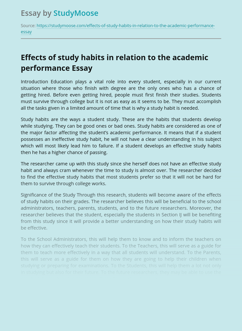 Effects of study habits in relation to the academic performance