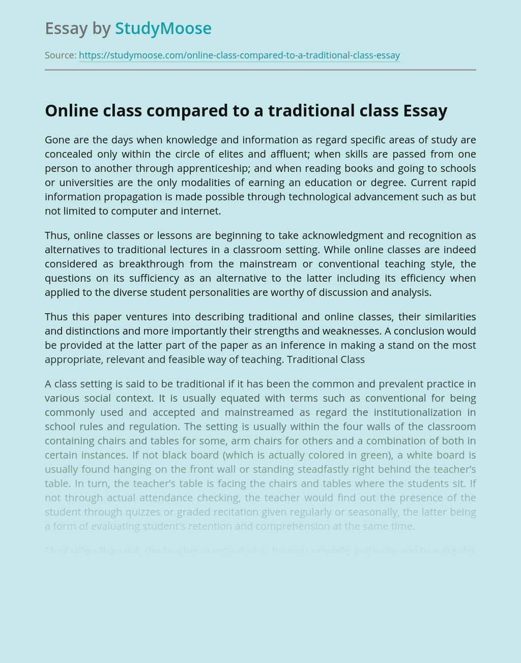 Online class compared to a traditional class