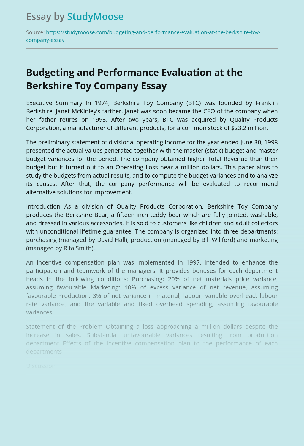 Budgeting and Performance Evaluation at the Berkshire Toy Company