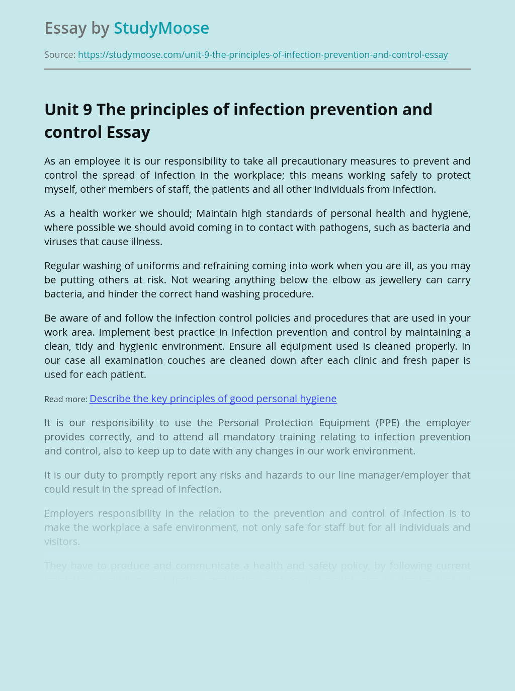 Unit 9 The principles of infection prevention and control