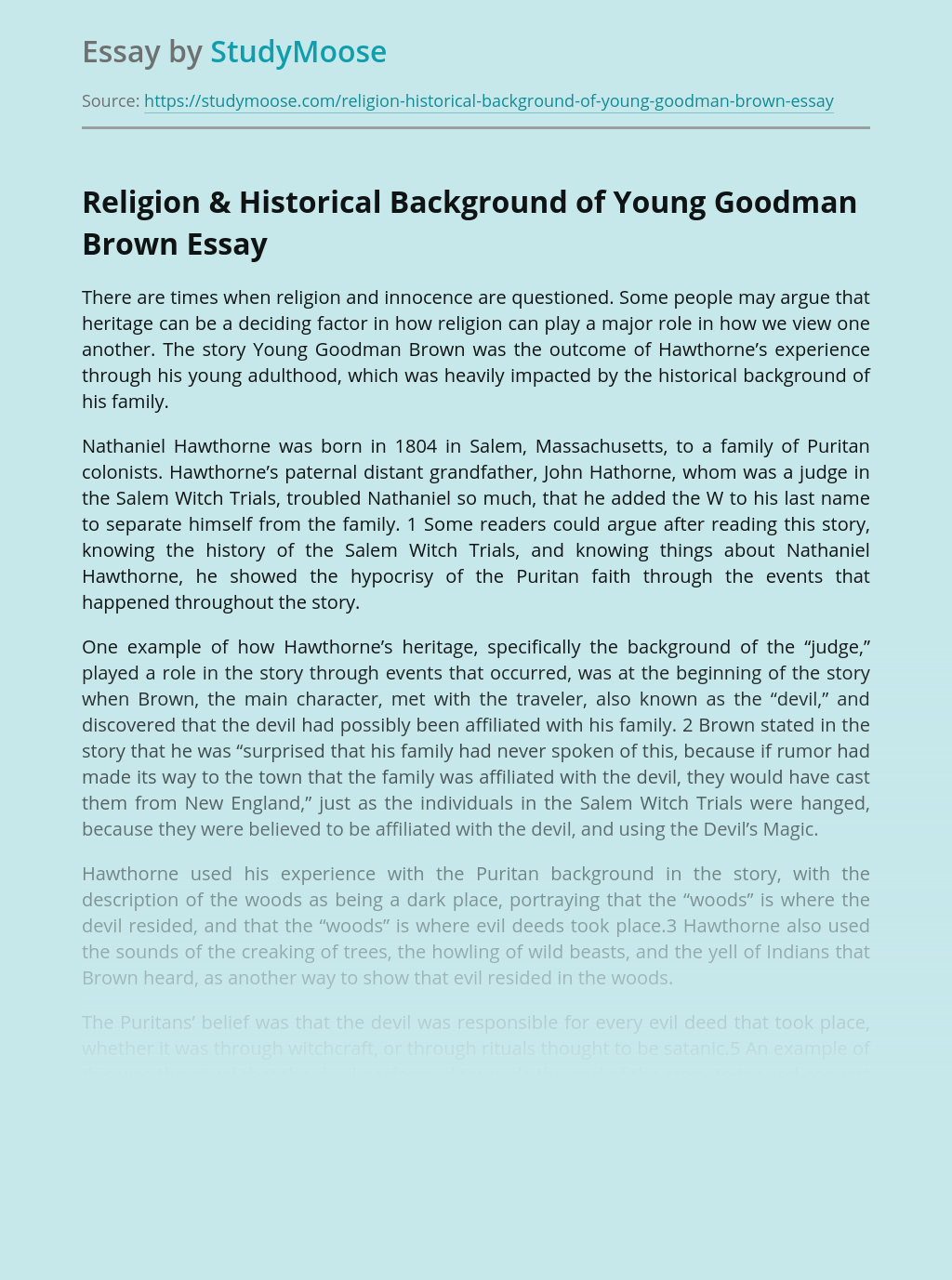 Religion & Historical Background of Young Goodman Brown