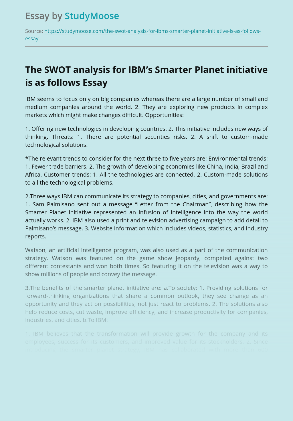 The SWOT analysis for IBM's Smarter Planet initiative is as follows