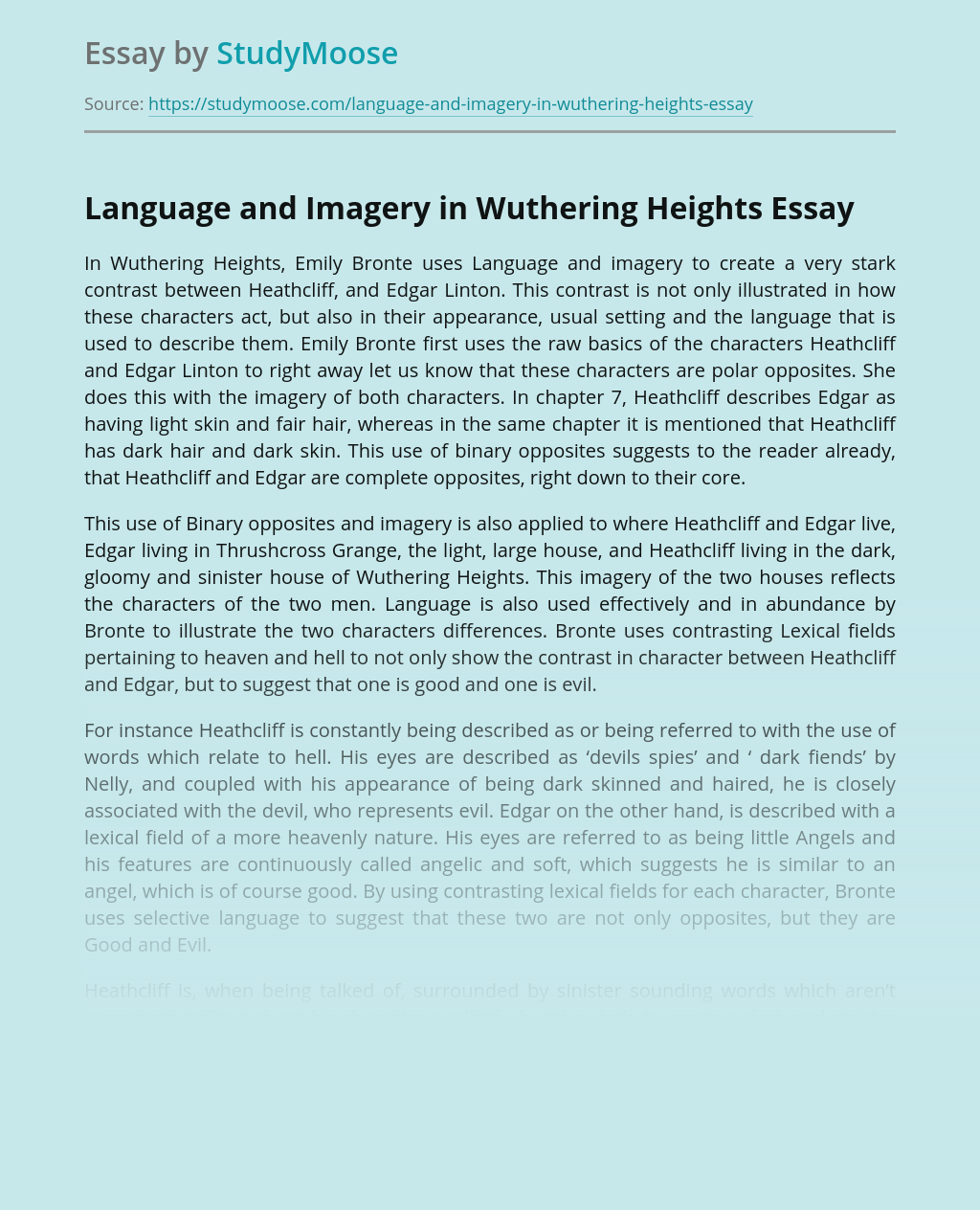 Language and Imagery in Wuthering Heights