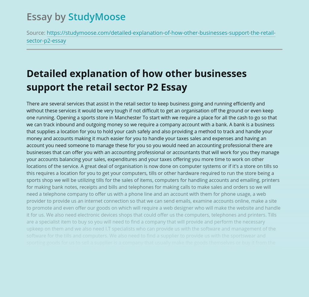 Detailed explanation of how other businesses support the retail sector P2