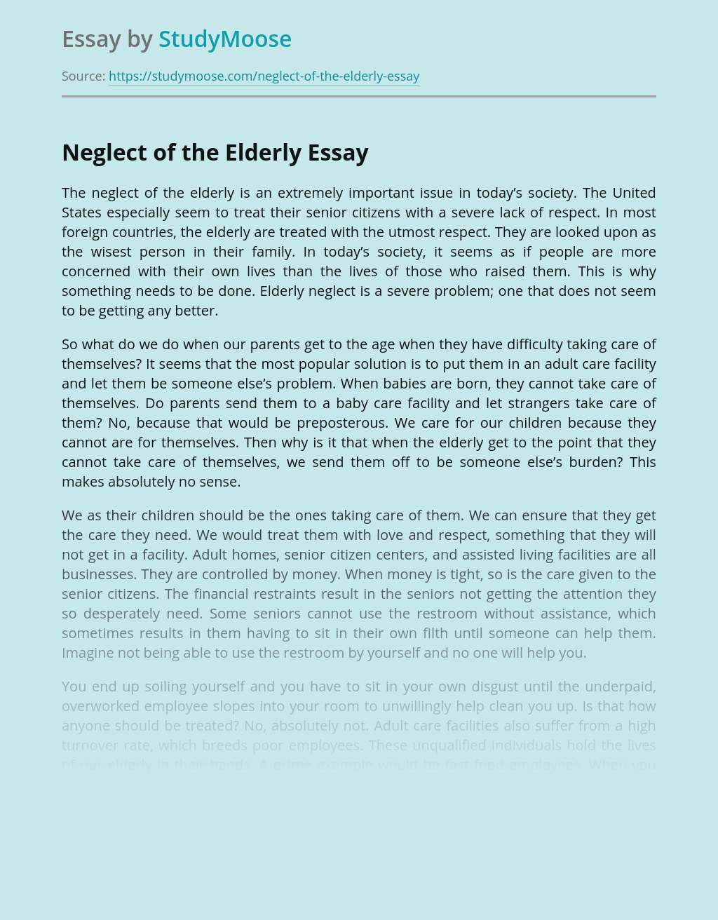 Neglect of the Elderly