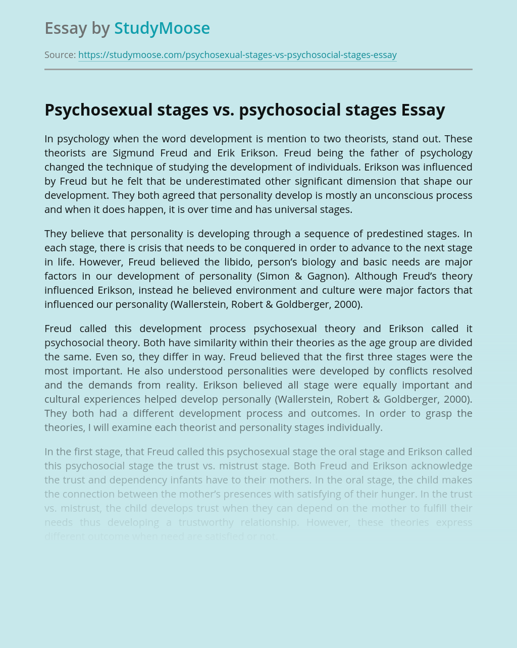 Psychosexual stages vs. psychosocial stages