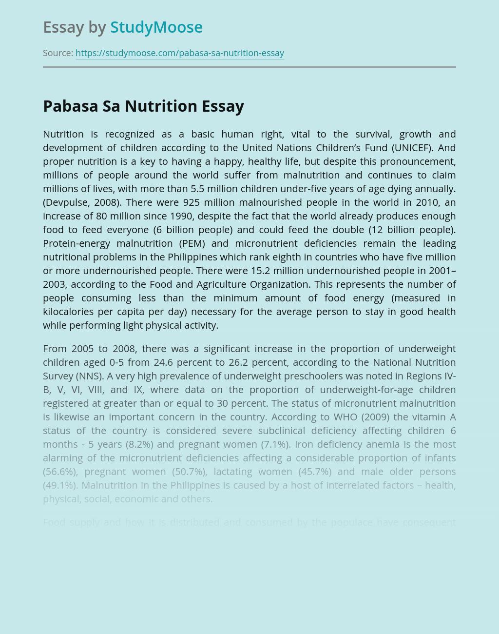 ?Pabasa Sa Nutrition