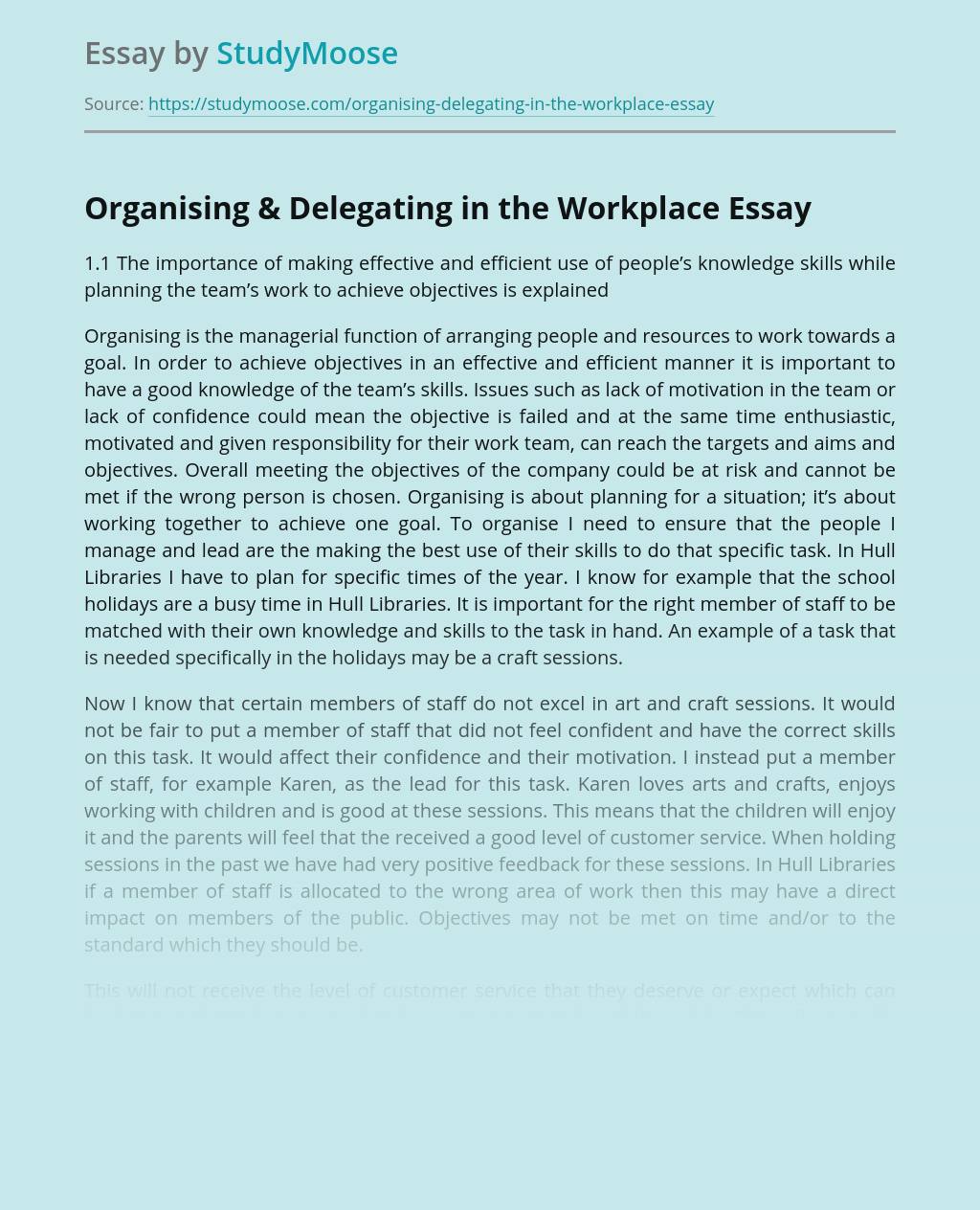Organising & Delegating in the Workplace