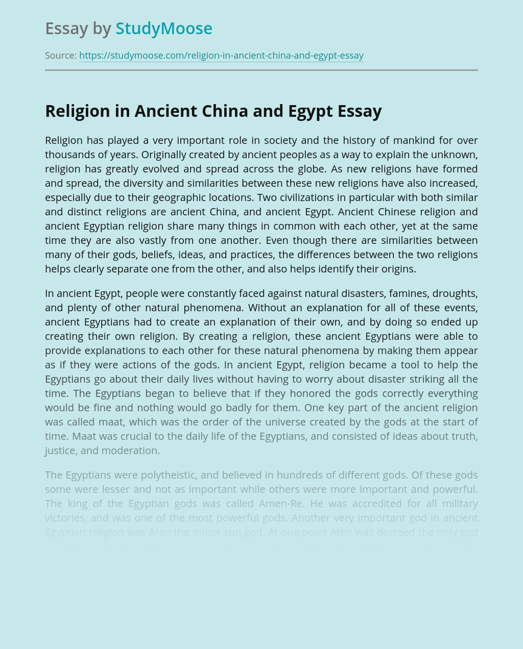 Religion in Ancient China and Egypt