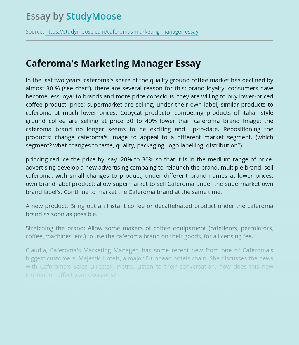 Caferoma's Marketing Manager