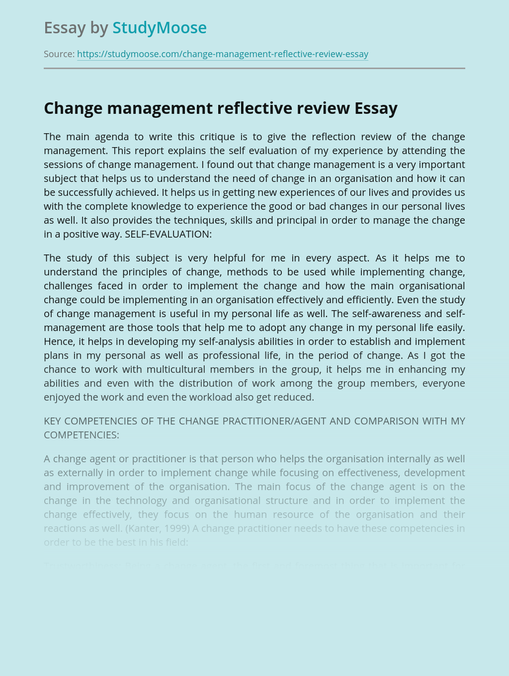 Change management reflective review