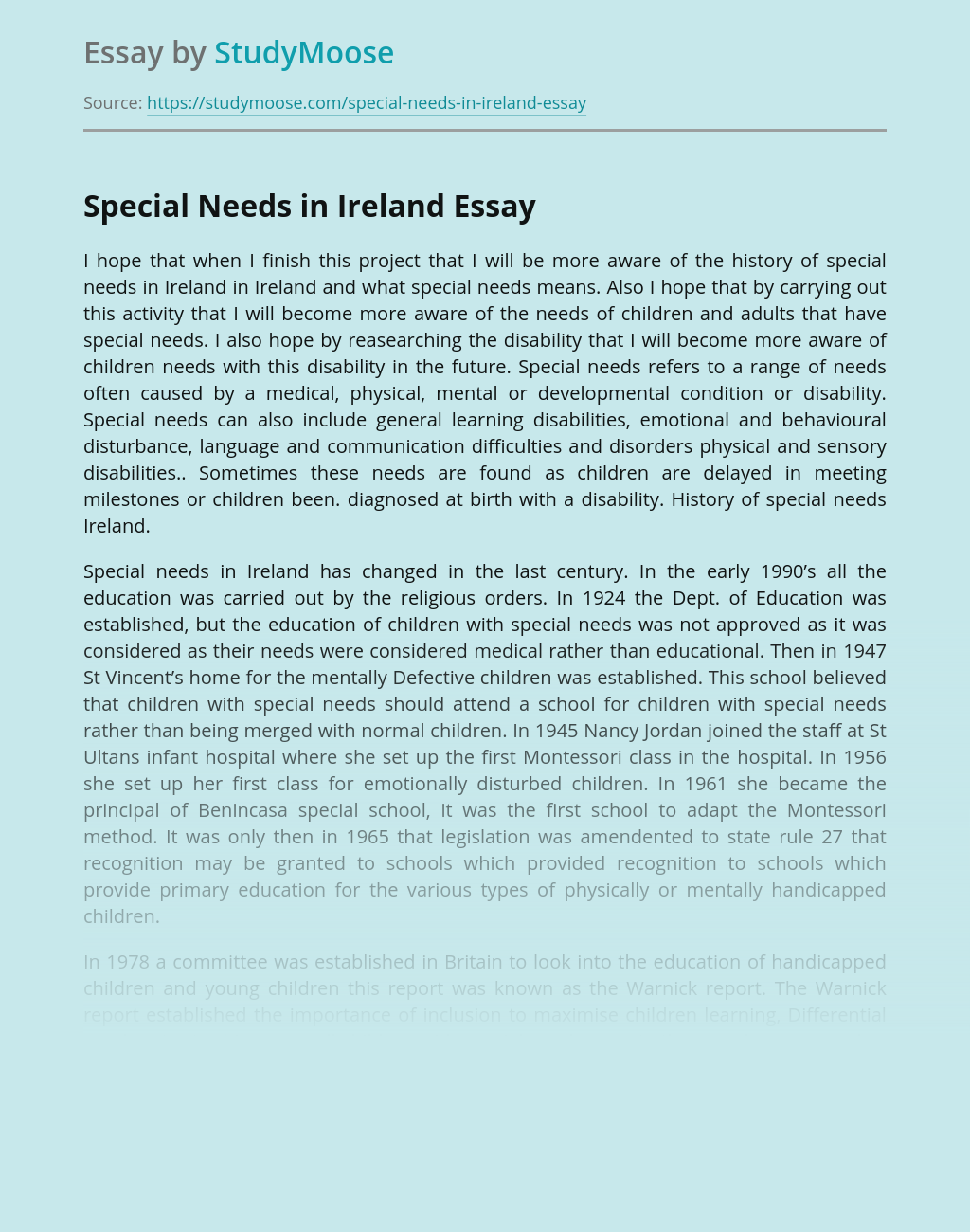 Special Education in Ireland for Special Needs Kids