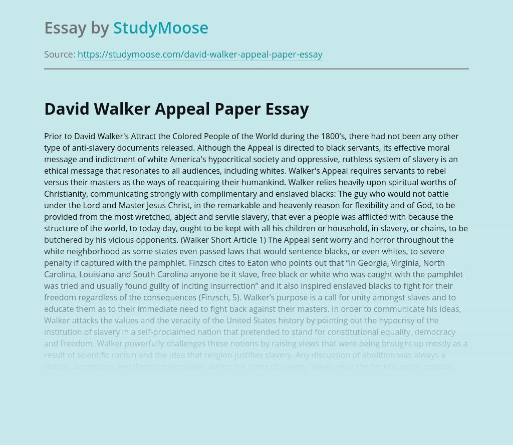 David Walker Appeal Paper
