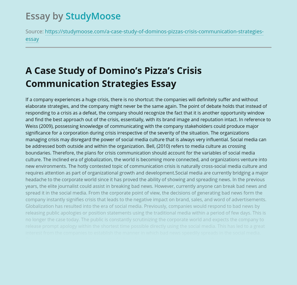 A Case Study of Domino's Pizza's Crisis Communication Strategies