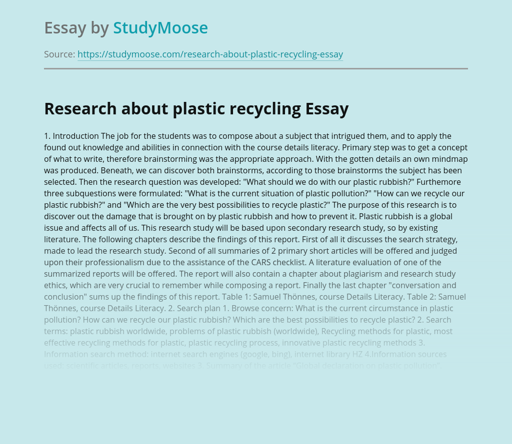 Research about plastic recycling
