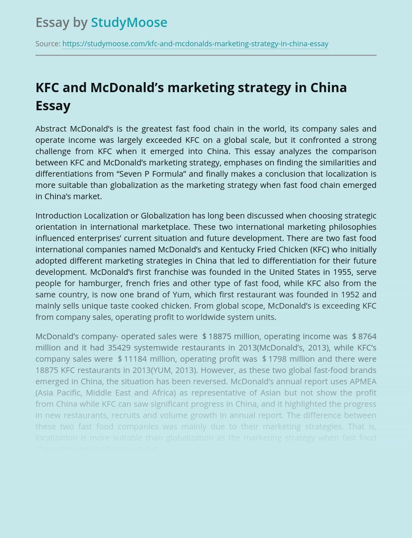 KFC and McDonald's marketing strategy in China