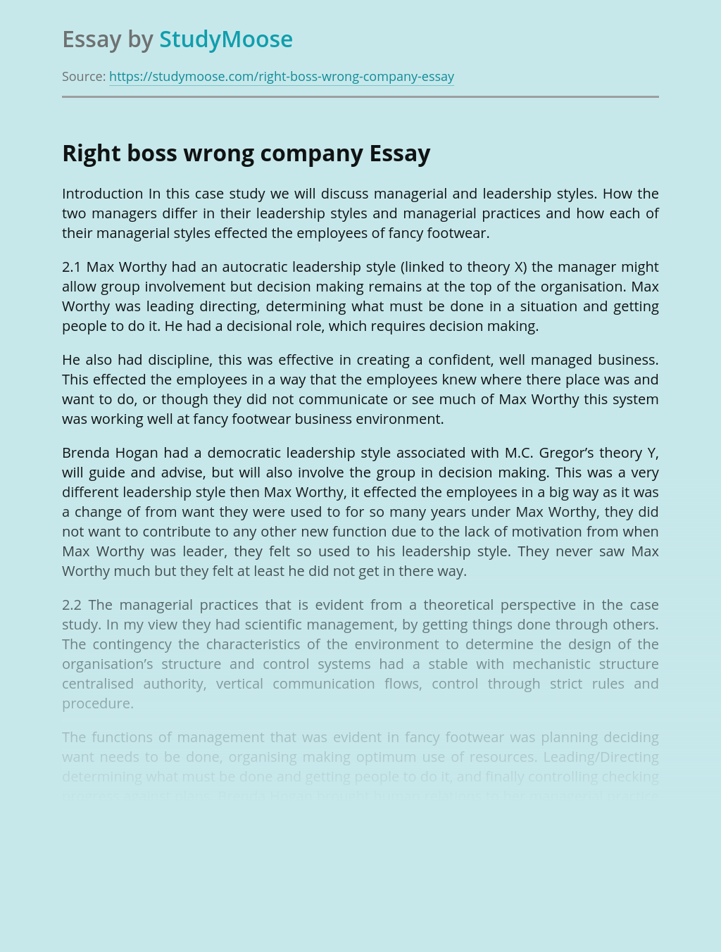Right boss wrong company