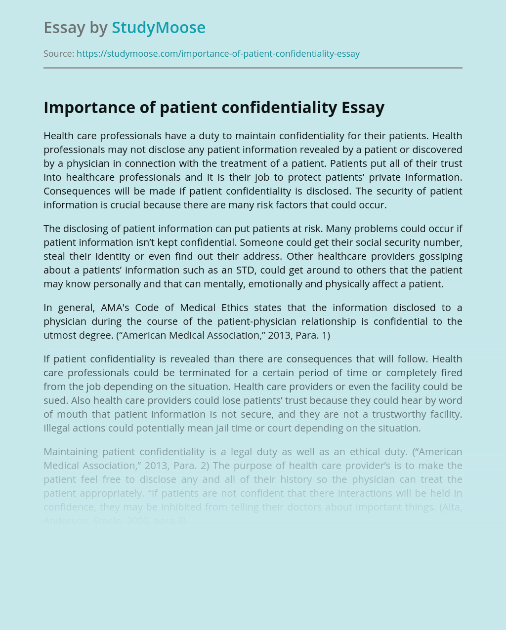 Importance of Patient Confidentiality