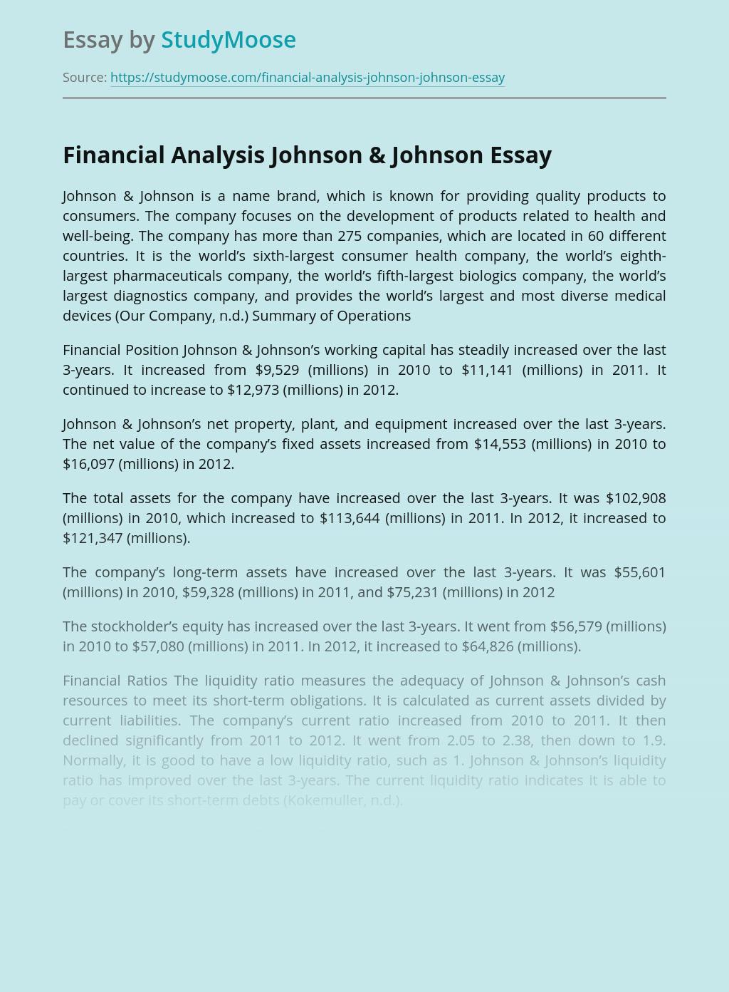 Financial Analysis Johnson & Johnson
