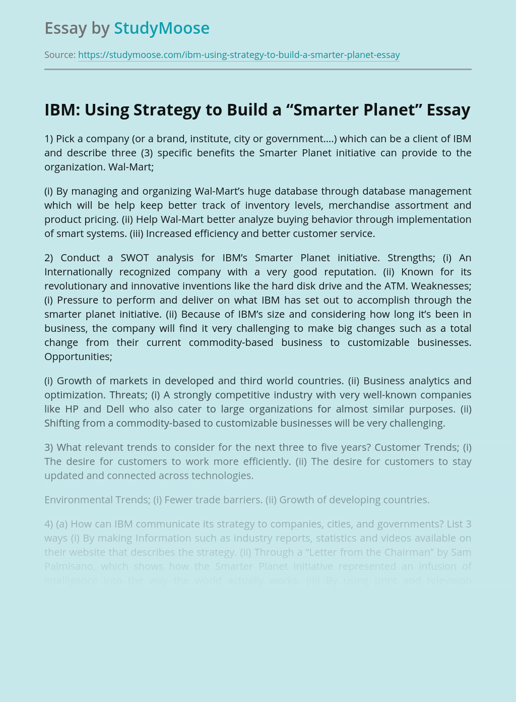 """IBM: Using Strategy to Build a """"Smarter Planet"""""""