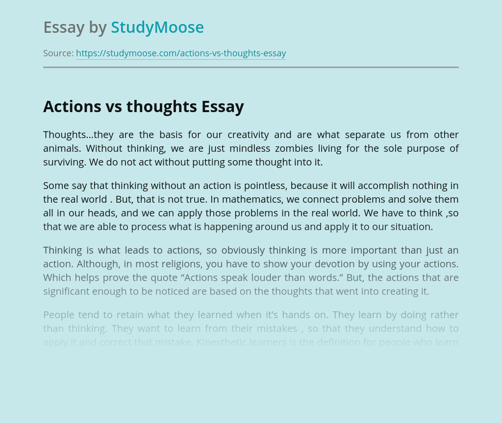 Actions vs Thoughts