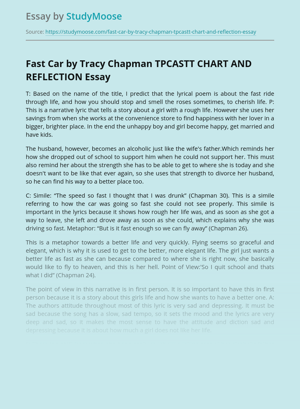 Fast Car by Tracy Chapman TPCASTT CHART AND REFLECTION
