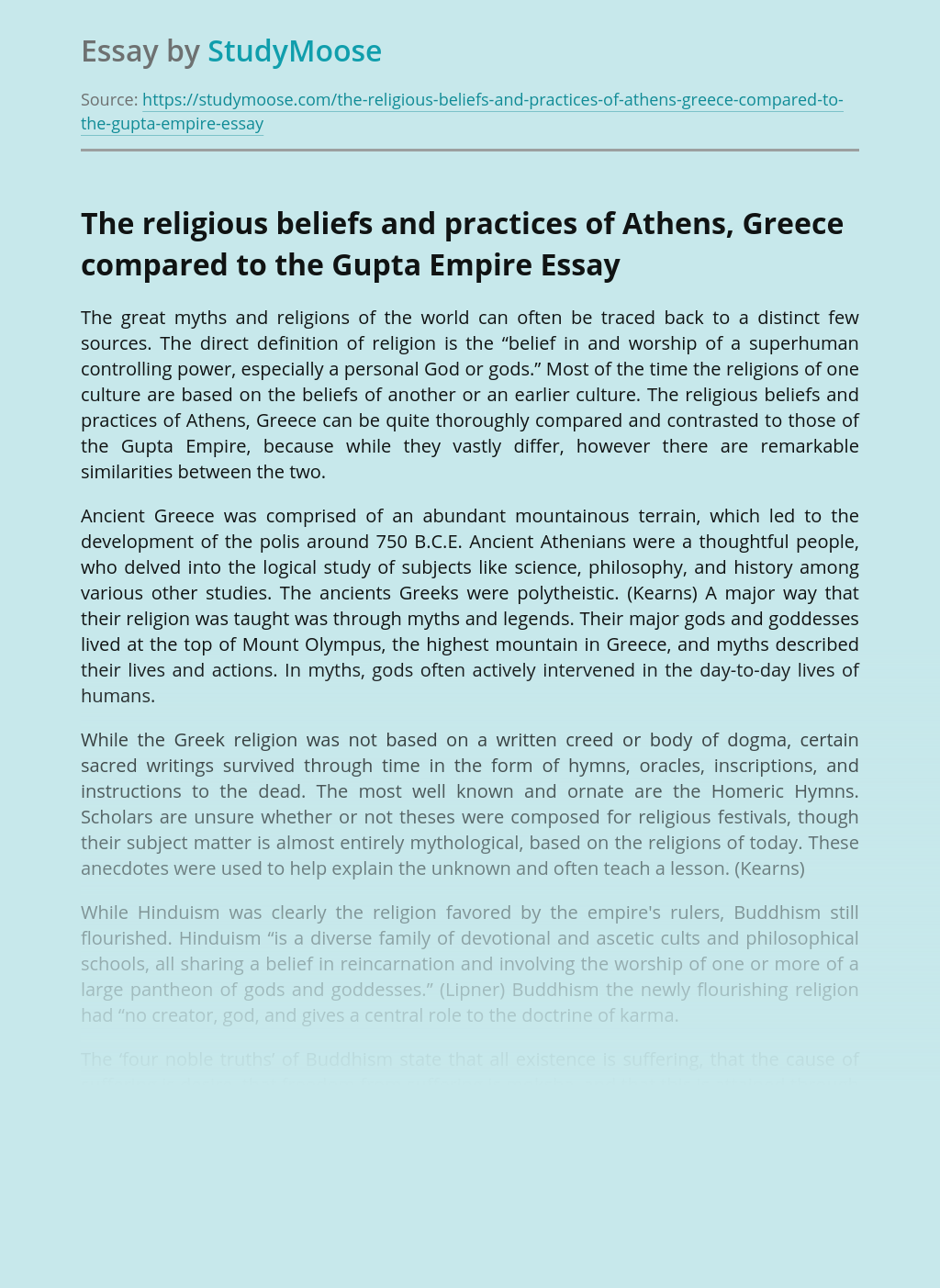 The religious beliefs and practices of Athens, Greece compared to the Gupta Empire