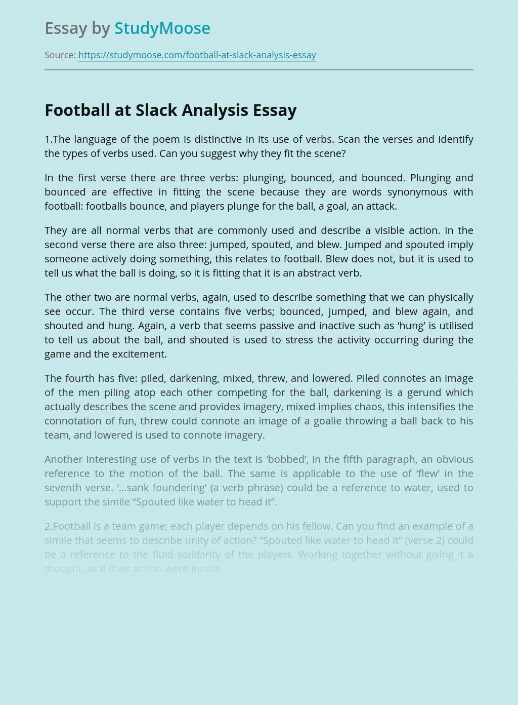 Football at Slack Analysis