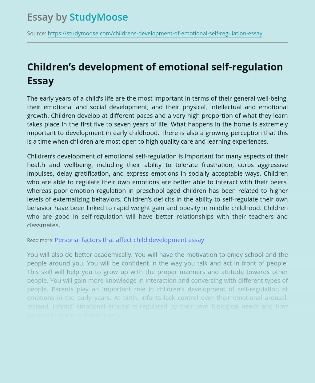 Children's development of emotional self-regulation