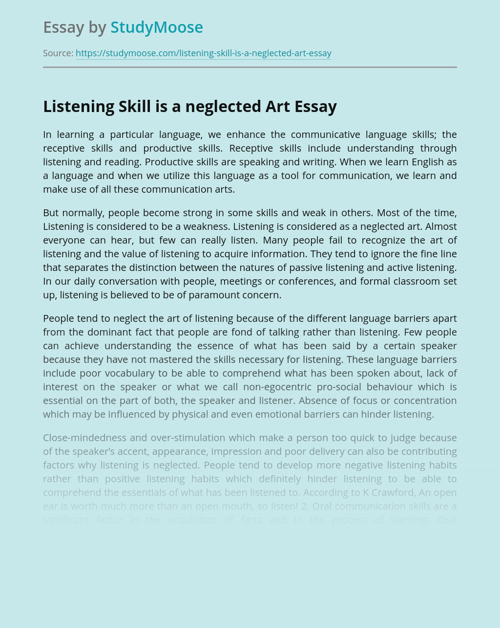 Listening Skill is a neglected Art