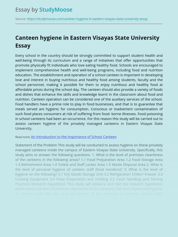 Canteen hygiene in Eastern Visayas State University