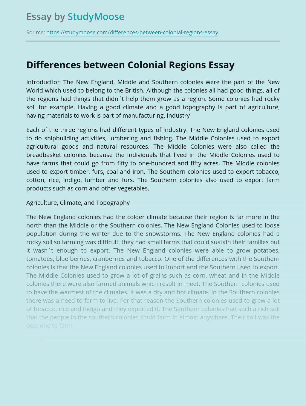 Differences between Colonial Regions