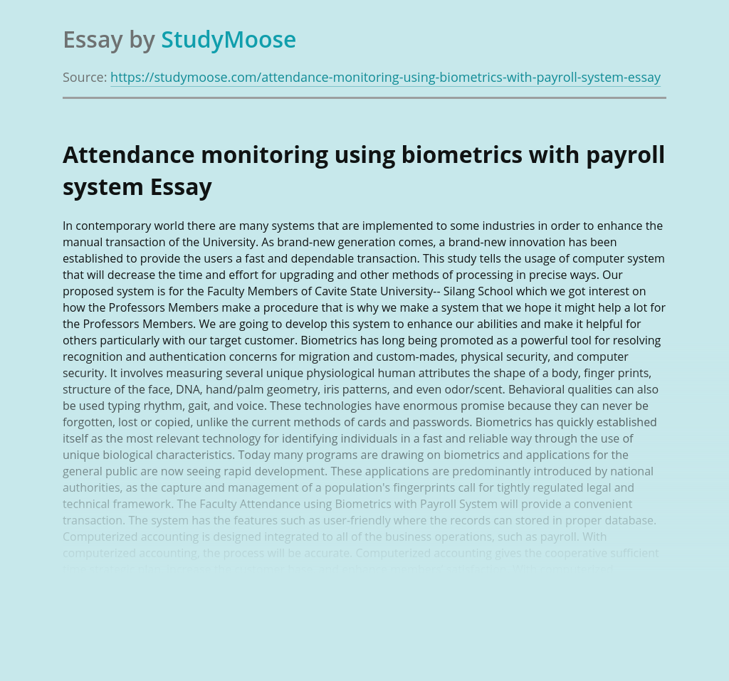 Attendance Monitoring Using Biometric Data with Payroll System