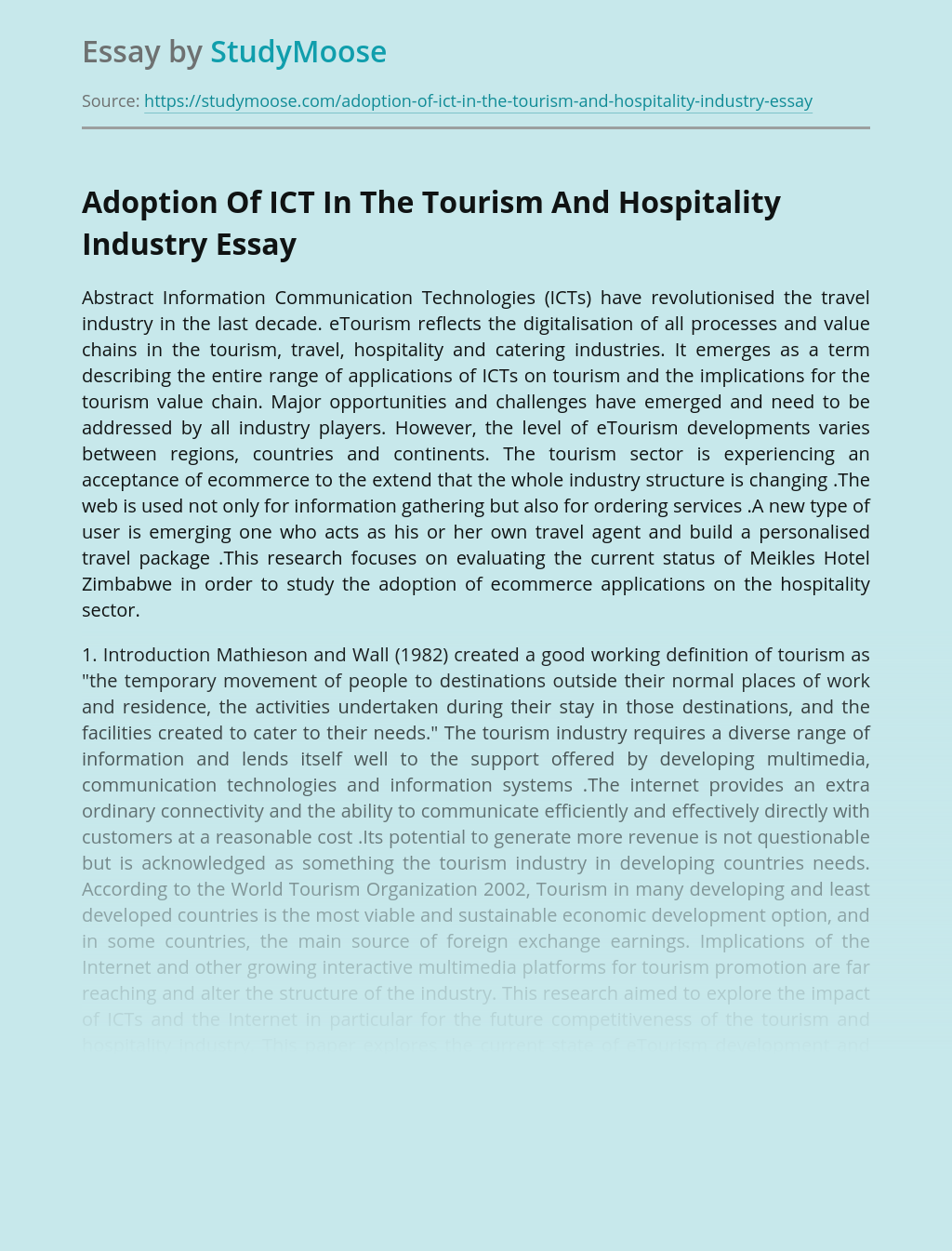 Adoption Of ICT In The Tourism And Hospitality Industry
