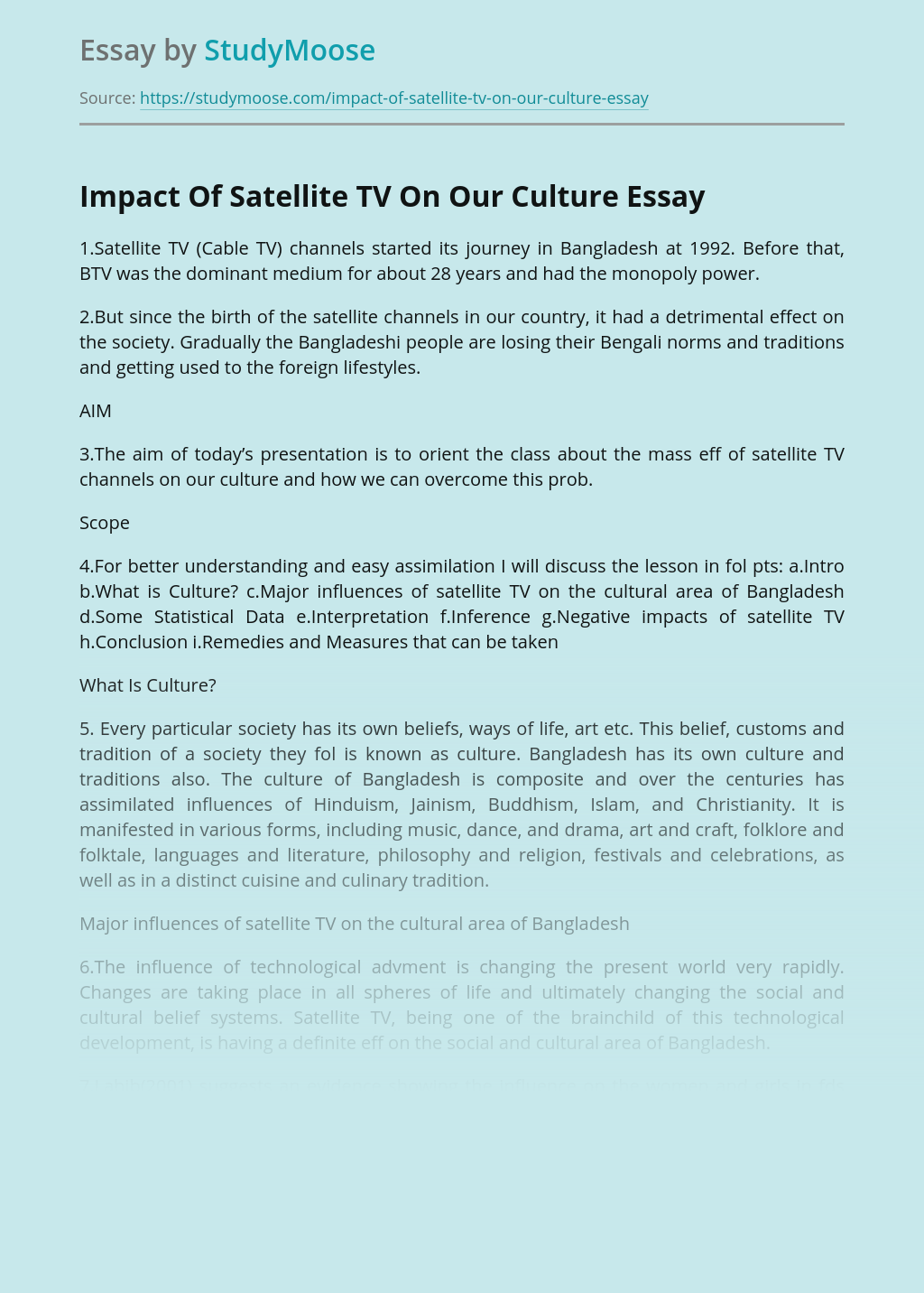 Impact Of Satellite TV On Our Culture