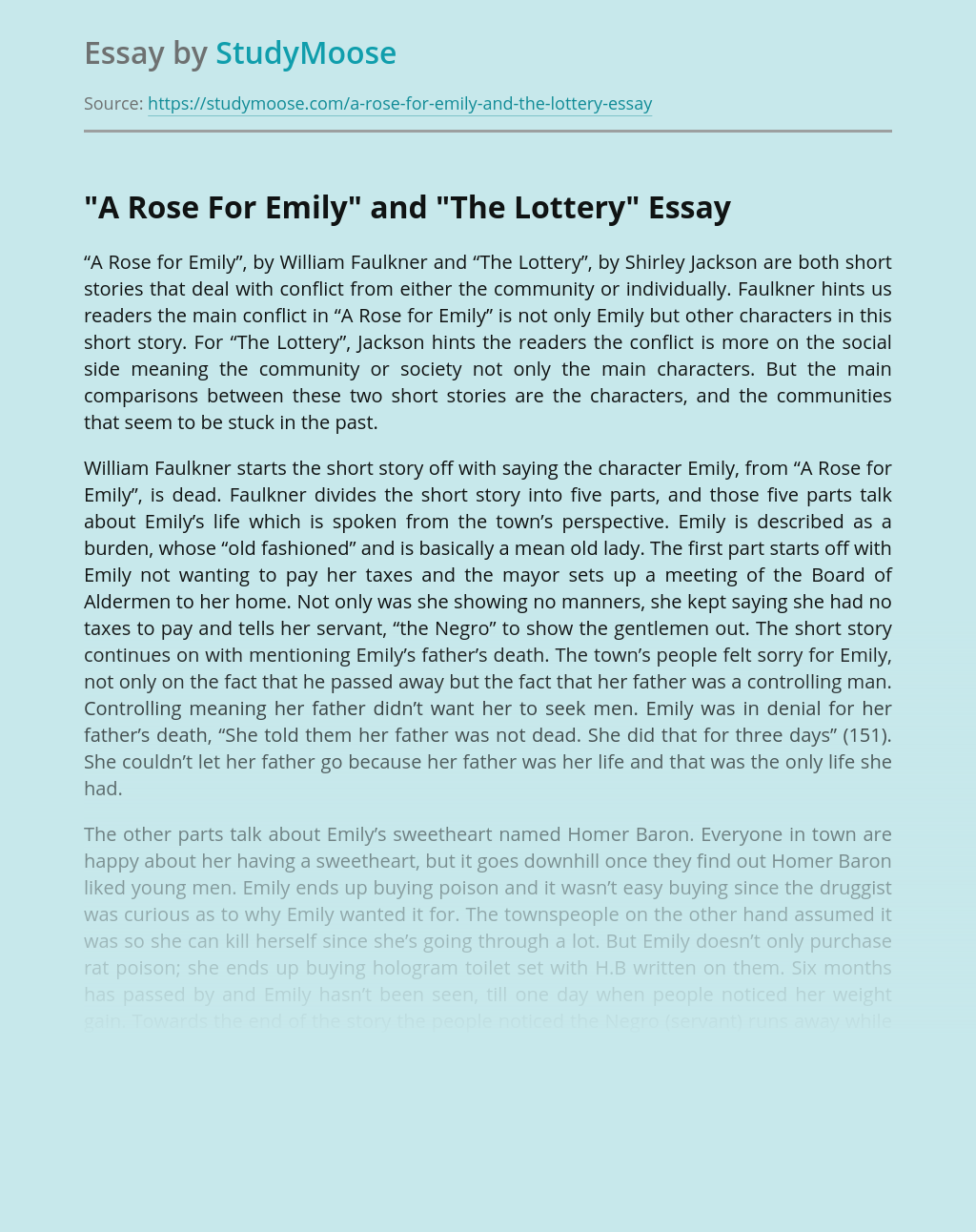 """A Rose For Emily"" and ""The Lottery"""