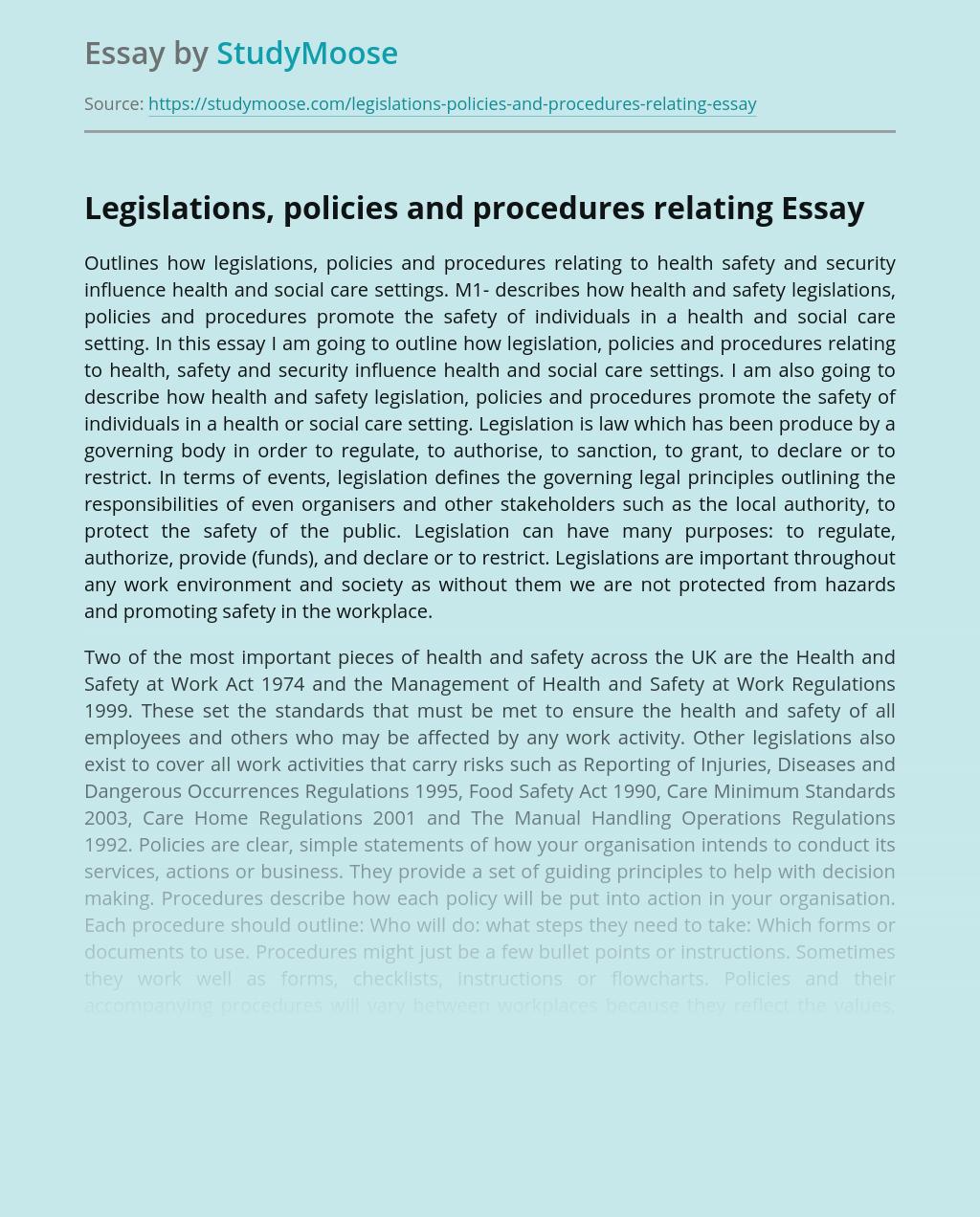 Legislations, Policies and Procedures Relating to Health